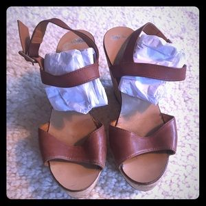 J.Crew wedges in tan leather